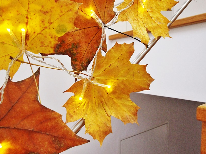 diy jesienne lampki z liści