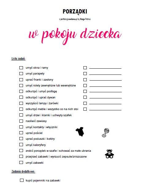 porządki w pokoju dziecka lista zadań
