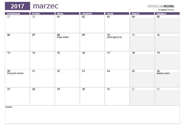 kalendarz do druku marzec 2017