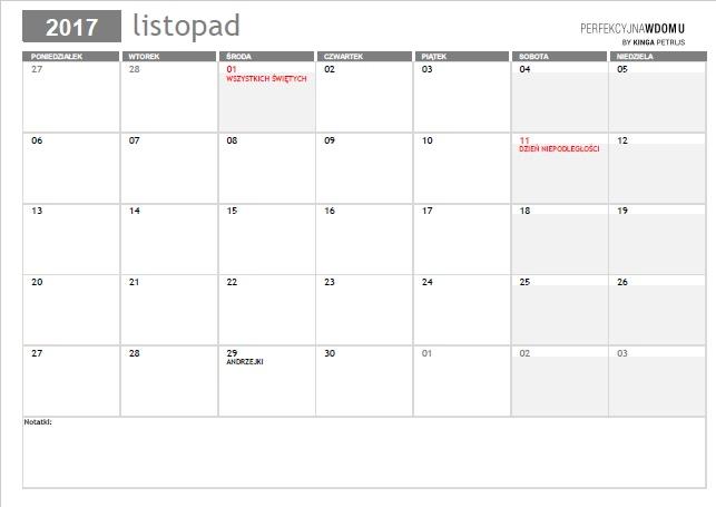 kalendarz do druku listopad 2017