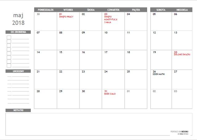 kalendarz do druku maj 2018